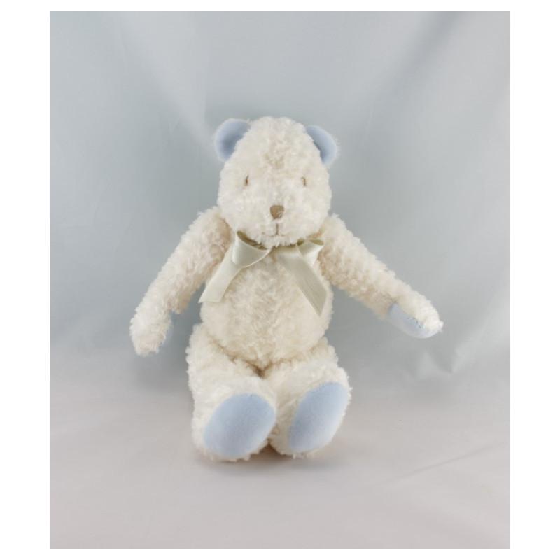 Doudou ours blanc bleu SUCRE D'ORGE