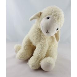 Doudou mouton écru marron fleur NOVECOR