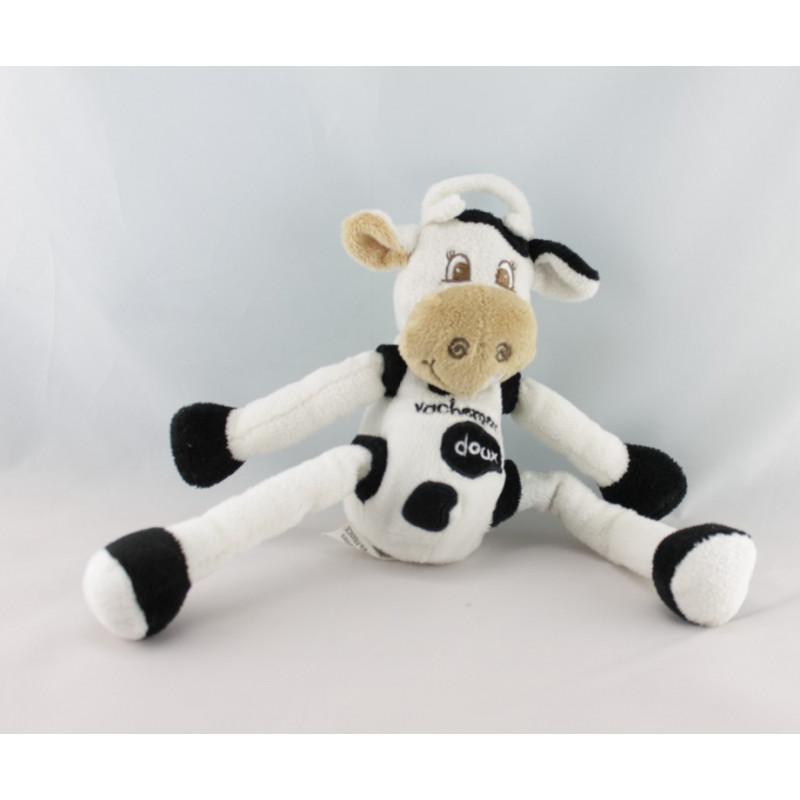 Doudou vache blanche marron bras jambes coulissant CMP