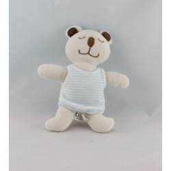 Doudou ours blanc bleu AUCHAN