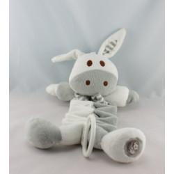 Doudou boule ane lapin blanc gris Dodo d'amour MGM