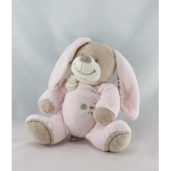Doudou plat carré lapin beige rose NICOTOY