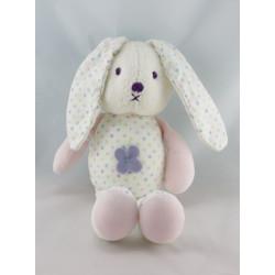 Doudou lapin blanc rose à pois fleur OBAIBI