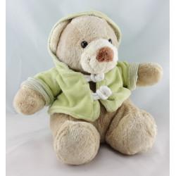 Doudou ours vert capuche NICOTOY 14 cm