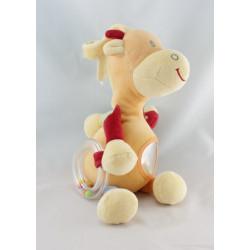 Doudou girafe orange jaune rouge mouchoir Cajou SUCRE D'ORGE