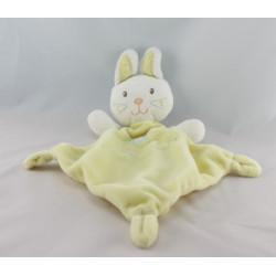 Doudou plat un amour de lapin gris jaune VETIR