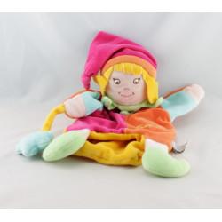 Doudou et compagnie marionnette clown arlequin blanc vert bleu orange