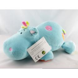 Doudou hippopotame bleu mauve écharpe orange avec attache