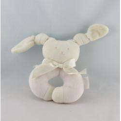 Doudou hochet anneau lapin Patachou blanc rose Corolle