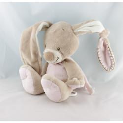 Doudou attache tétine lapin beige rose NATTOU