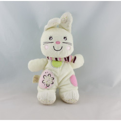 Doudou lapin blanc rose My Baby hochet NICOTOY