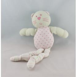 Doudou chat blanc à petits pas BOUTCHOU