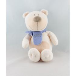 Doudou ours chien blanc écharpe bleu BENGY