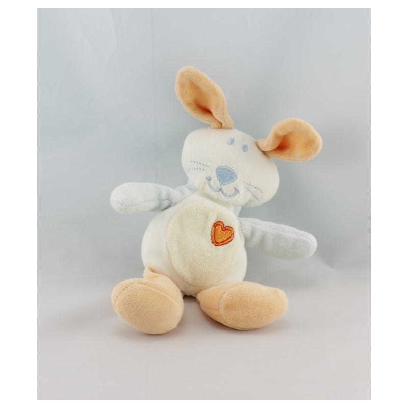 Doudou lapin blanc orange bleu coeur AUCHAN