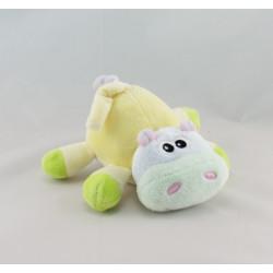 Doudou plat hippopotame jaune mauve bonbon hochet