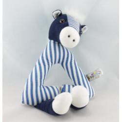 Doudou plat ane cheval bleu vert NANON