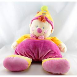 Doudou clown rose jaune NICOTOY