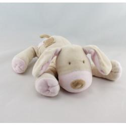 Doudou chien couché beige rose OBAIBI