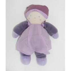 Doudou poupée bébé mauve violet TARTINE ET CHOCOLAT