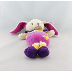 Doudou musical lapin mauve violet rose jaune BABY NAT