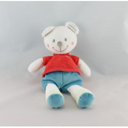 Doudou ours blanc pull rouge short bleu KITCHOUN KIABI