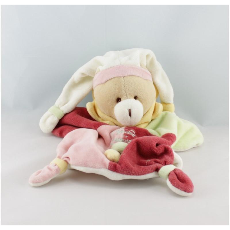 Doudou et compagnie plat ours arlequin bordeaux rose col jaune