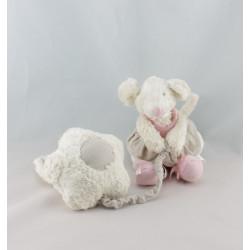 Doudou ours blanc gris Oscar J-LINE