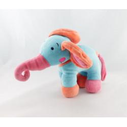 Doudou éléphant bleu rose SOL EN CIRQUE