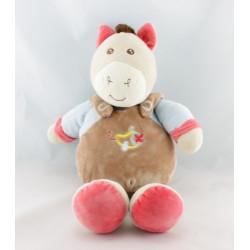 Doudou ane poney cheval marron rose bleu abeille AJENA