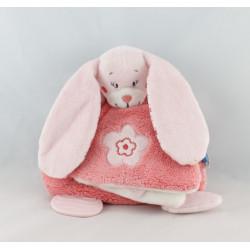 Doudou plat lapin rose fleurs oiseau miroir TEX BABY