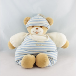 Doudou ours beige salopette rayé bleu TAKINOU