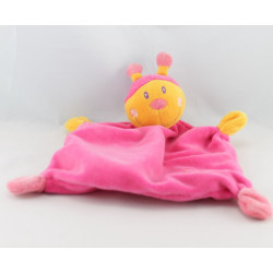 Doudou plat papillon abeille jaune orange BABY CLUB