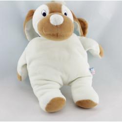 Doudou chien blanc marron ruban bleu SUCRE D'ORGE