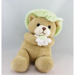 Doudou musical ours beige chapeau fleur mauve AJENA