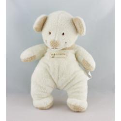 Doudou ours souris blanc col beige NICOTOY