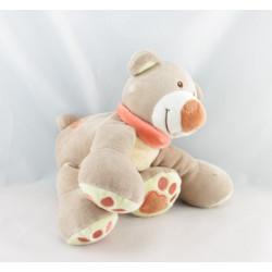 Doudou ours beige jaune empreintes Pol NATTOU 20 cm
