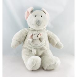 Doudou souris grise avec bébé NICOTOY