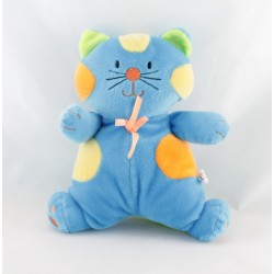 Doudou chat vert bleu rose orange rose MAXITA