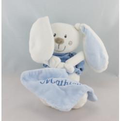 Doudou lapin blanc bleu avec mouchoir PLUSHIES COLLECTION
