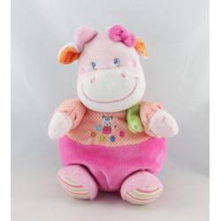 Doudou vache rose pois foulard vert chat jongleur MOTS D'ENFANTS