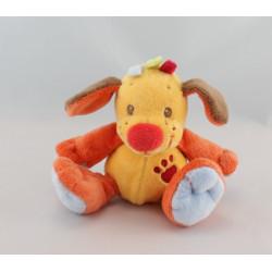 Doudou chien jaune tache rouge bleu NATTOU 18 cm