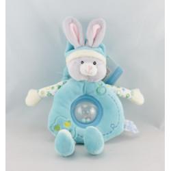 Doudou musical lapin bleu gris GIPSY