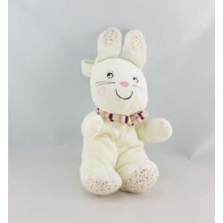 Doudou lapin blanc rose My Baby NICOTOY