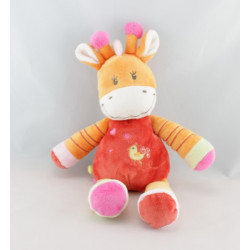 Doudou plat girafe orange rose rouge oiseau NICOTOY