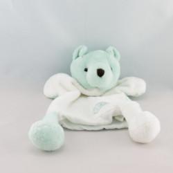 Doudou plat marionnette ours beige blanc CLARINS