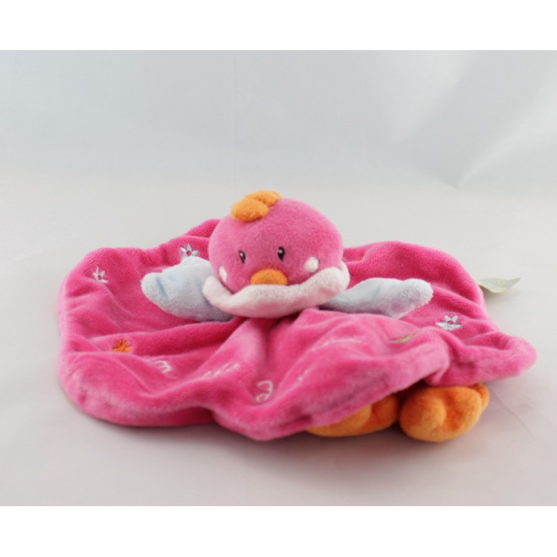 Doudou oiseau rose bleu orange fleurs TAPE A L'OEIL