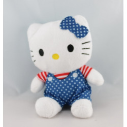 Doudou chat HELLO KITTY bleu noeud rose SANRIO LICENSE