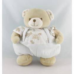 Doudou boule ours beige blanc imprimé lavande savon TARTINE ET CHOCOLAT