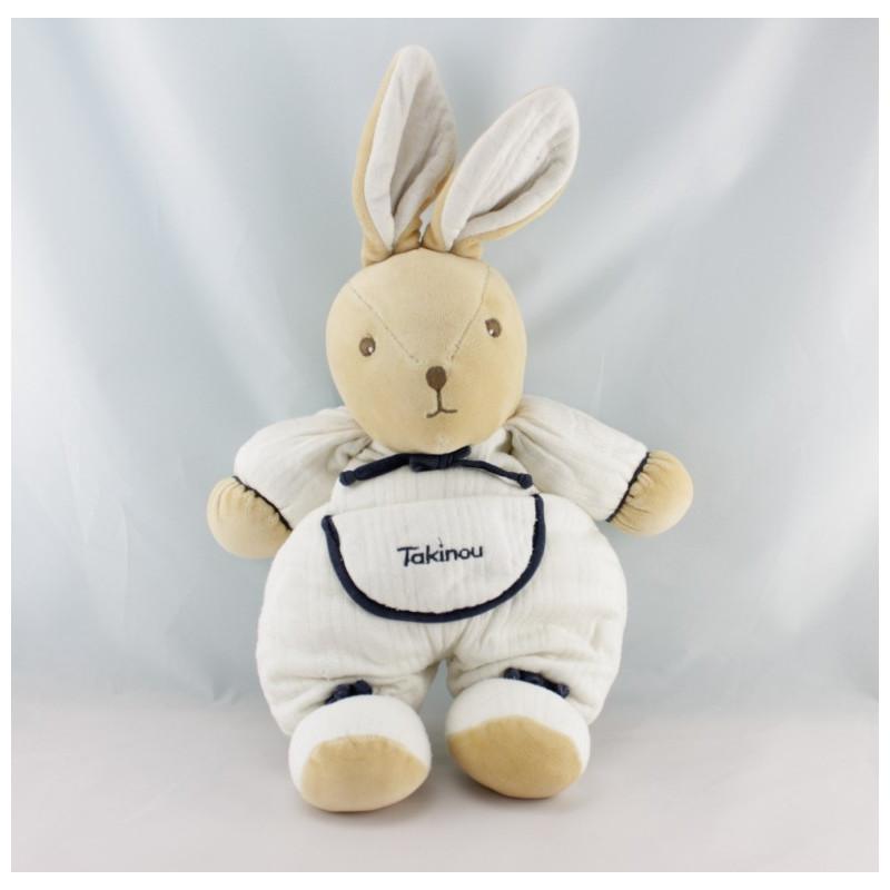 Doudou lapin blanc bleu marine TAKINOU NEUF