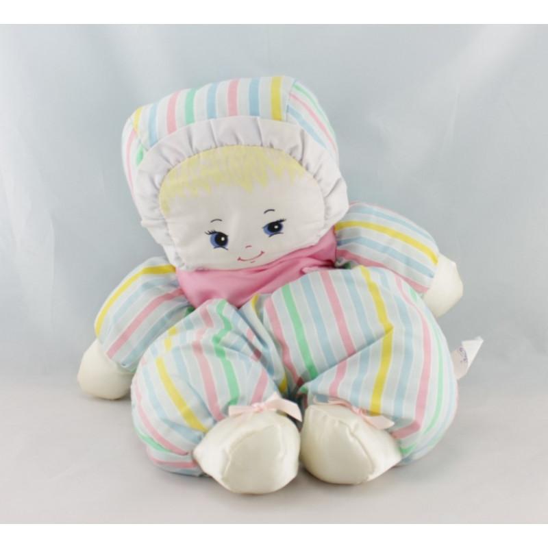 Doudou poupée chiffon rayé bleu rose vert jaune BOULGOM